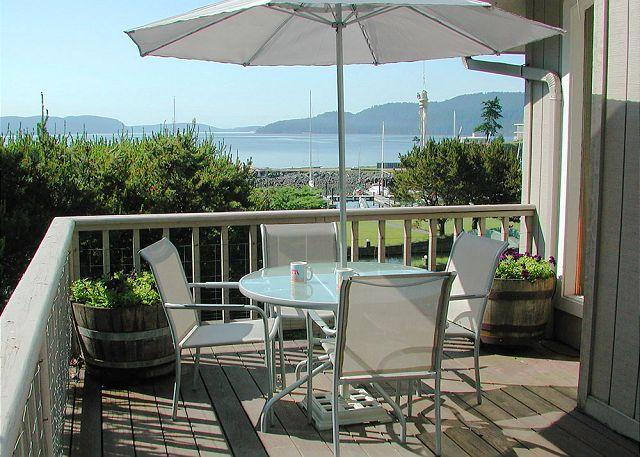 There are three decks at SeaWatch, all with amazing views of Cascade Bay and Rosario Resort's park like grounds. - Seawatch on Orcas Island - Eastsound - rentals