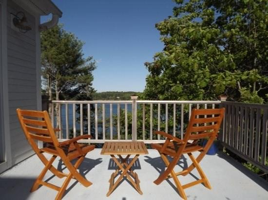 a view from the master bedroom deck - A LUCKY CAST | WESTPORT MAINE | SALT WATER RIVER | DEEP WATER DOCK & FLOAT - Westport Island - rentals