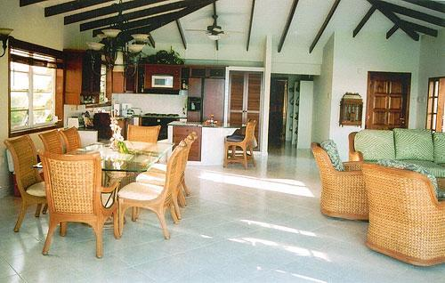 Living room with the dining table for 8 - Spacious 2 BR  Apartment right on the Caribbean Sea - Kralendijk - rentals