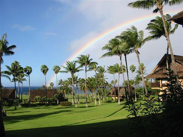 Rainbow over the ocean view from lanai - Molokai Dreams Oceanview Condo -Kepuhi/Kaluakoi - Maunaloa - rentals