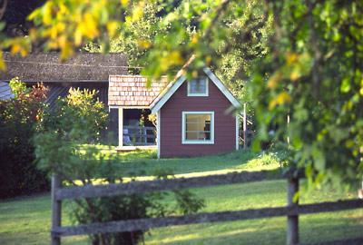 The red cabin is a cozy sleeping cabin.  - Foxglove Farm Cottages: Studio Sleeping Cabin - Salt Spring Island - rentals