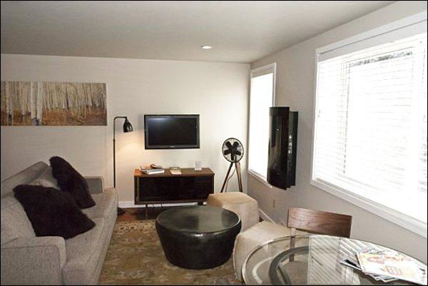 Living Area Features an Electric Fireplace and Flat-Screen TV - Remodeled, Contemporary Studio Condo - Walking Distance to Sun Valley Lodge (1218) - Ketchum - rentals