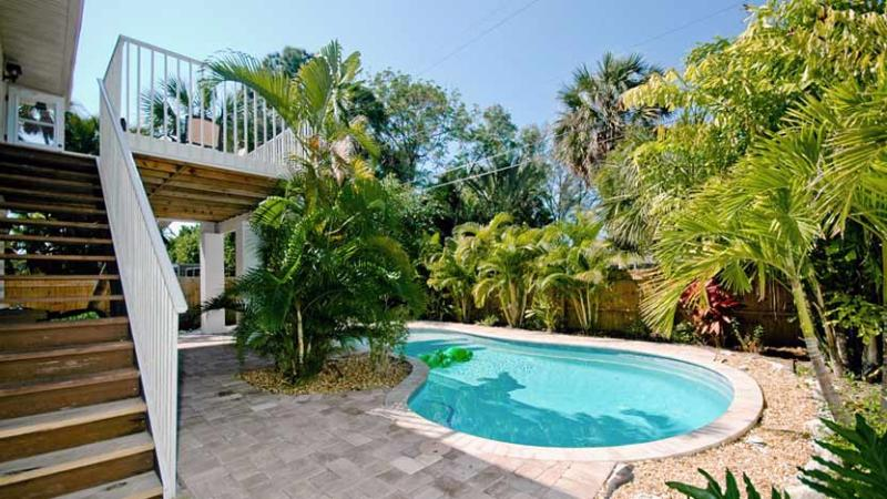 Tropical Landscaped Pool - Island Hideout West: 3BR/2BA Family-Friendly Elevated Home with Pool - Holmes Beach - rentals