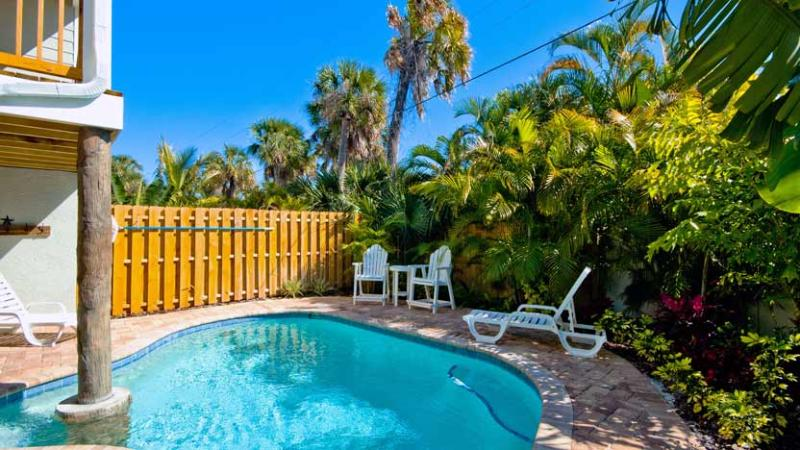 Relaxing Backyard with Heated Pool - Southern Comfort: 2BR/2BA Pool Home One Block from Beach - Holmes Beach - rentals