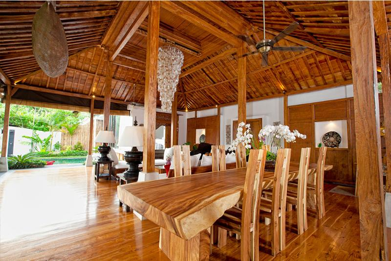 Solid teak table seats 8 for home cooked meal, balinese finest cuisine or a chef's special - Villa Jasmine Bali 4 Bedroom Luxury in Paradise - Seminyak - rentals
