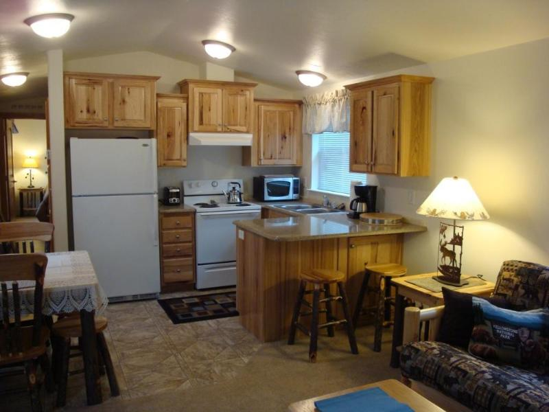 Kitchen with hickory cabinets all dishes; appliances; pots pans etc - Alpine West Cabin - A great stay near Yellowstone - West Yellowstone - rentals