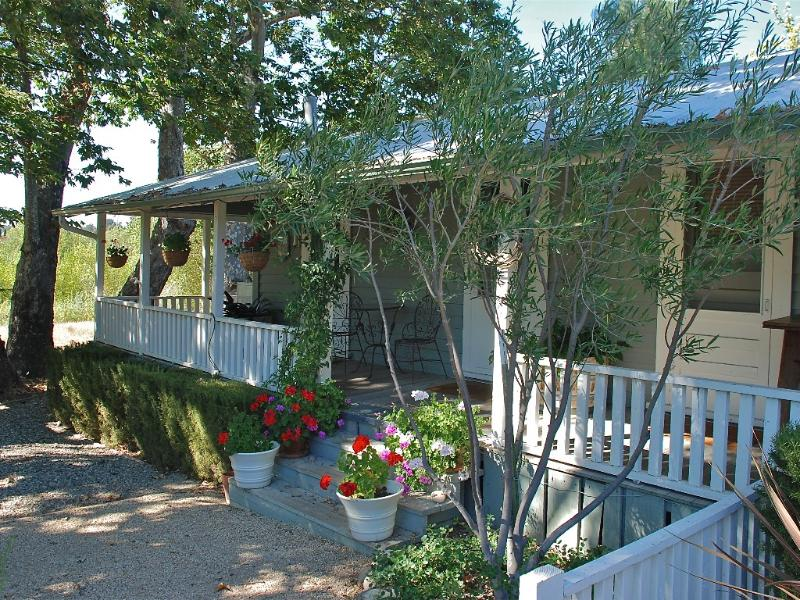 One of three covered porches - Historic Riverfront Cottage in Santa Ynez - World - rentals