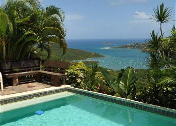 The fantastic view from Mayan Sky; lush landscaping offers complete privacy - Mayan Sky - Coral Bay - rentals