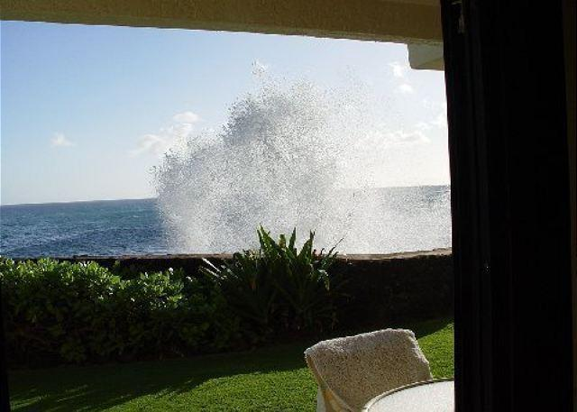 Poipu Shores 106A crashing waves from lanai - Roll out of bed and into the ocean at Poipu Shores 106A - Koloa - rentals