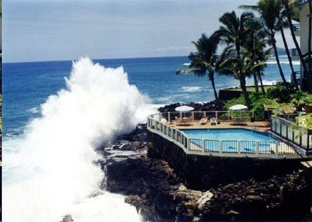 Poipu Shores pounding surf and oceanfront pool - One of Kauai's most amazing oceanfront condo, Poipu Shores 103A, 2bd/2ba - Koloa-Poipu - rentals