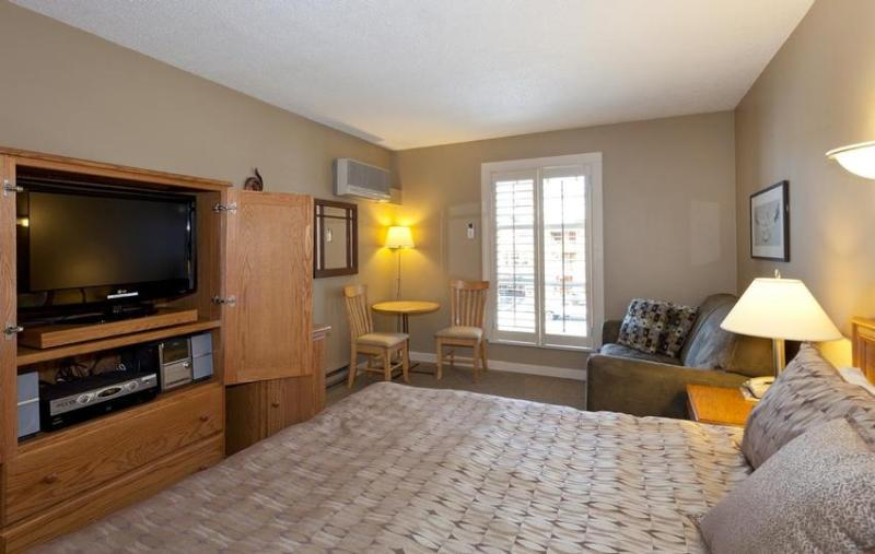 Separate bedroom with king bed (or 2 twins upon request), large flat screen TV and stereo system, air conditioning, single twin pull out sofa bed, and work area - Deluxe ski in ski out 1 bedroom - sleeps 6 - Whistler - rentals