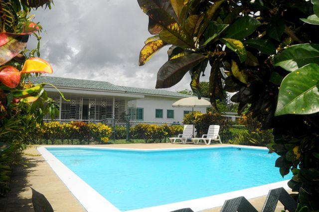 The pool is a few steps away from the verandah. - Riviera Wellness Retreat, Mammee Bay villa, JM - Mammee Bay - rentals