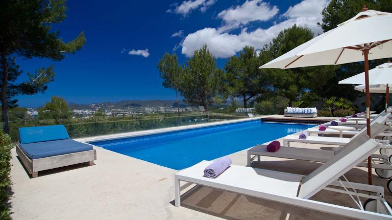 Pool with 12+ sun beds - Modern Luxury Villa with Harbour Views in Ibiza - World - rentals
