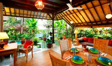 Outdoor Dining/Living Area - Hyacinth House with Private Pool in the Ricefields of Ubud - Woodston - rentals