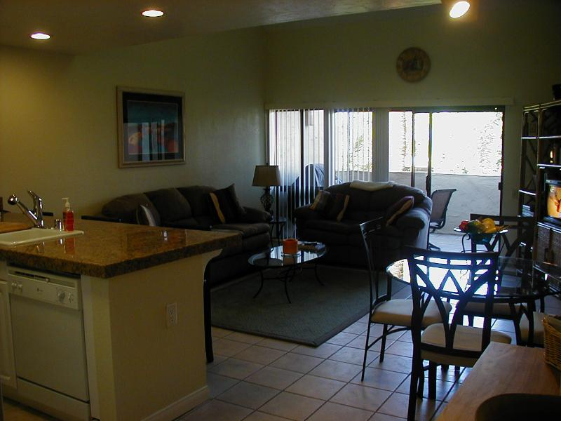 looking from hall kitchen into living area - Beautiful Palm Springs condo - Palm Springs - rentals