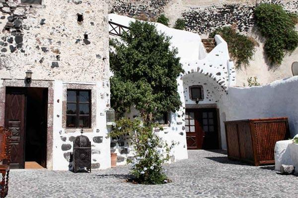 An architectural treasure on the central square of Megalochori, this villa is steps away from the town's churches and Venetian bell towers. VMS AFR - Image 1 - Santorini - rentals