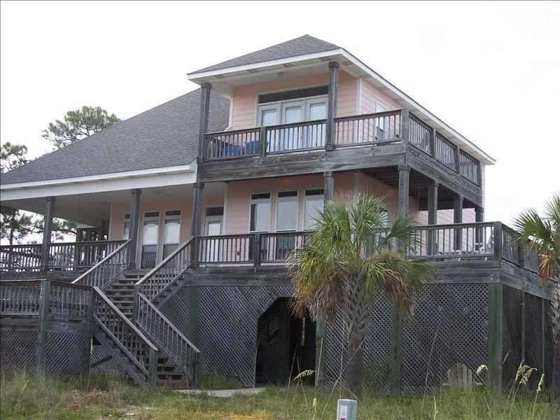 Front view of house - Beautiful House in Gated DeSoto Landing Neighborhood, Porches, Pool and Tennis Court - Dauphin Island - rentals