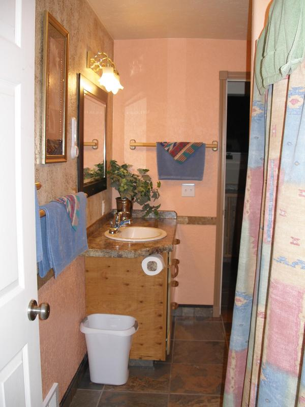 bathroom with shower, sink and toilet - View of the Cabinet Mountains on Cherry Creek - Libby - rentals
