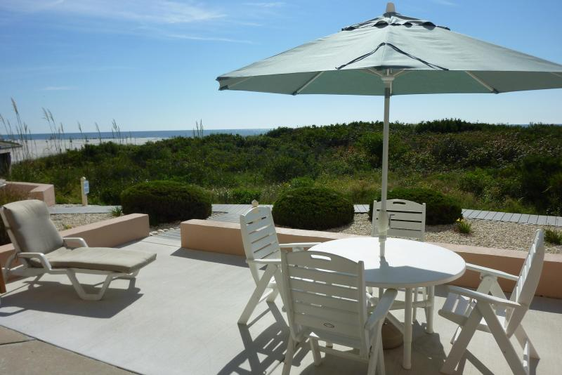 Private Patio and view - Seapointe Village OCEAN FRONT WALKOUT! 1BR - Wildwood Crest - rentals