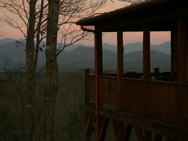Deck view at Sunset - Luxury Smoky Mountain Chalet(MyCubbyHole) - Murphy - rentals