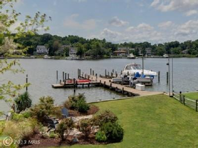 View of our dock from the upper level balcony! - Beautifully water front Contemporary Home in Bay Ridge, Annapolis - Annapolis - rentals