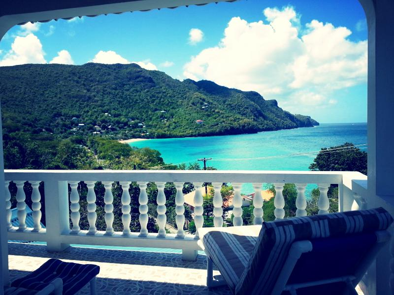 sundeck with lounge chairs over looking Lower Bay Beach - Twilight Villa, 2 Bedrooms - Bequia - rentals