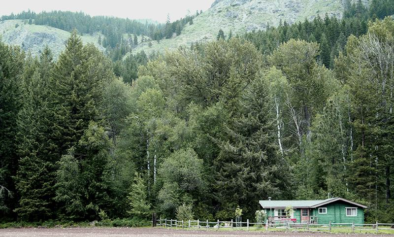 View from the south toward the cabin - North Cascades Cozy Cabin with Corral - Winthrop - rentals