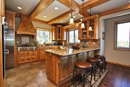 The kitchen features granite counter tops, stainless steal appliances and a 6 burner gas stove. - Whispering Springs- High End! Beautiful! Gameroom! - Big Bear Lake - rentals