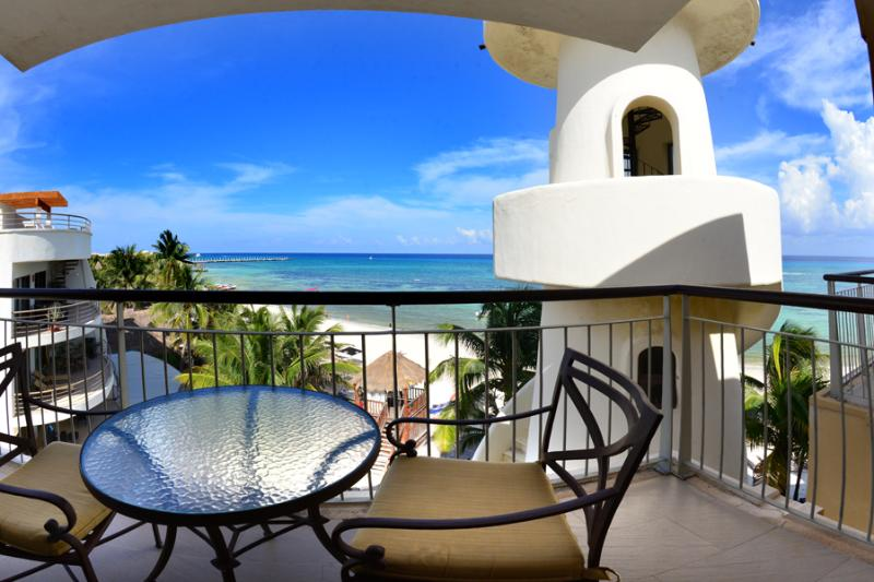 Balcony View - One bedroom oceanfront El Faro Condo (EFS407) - Playa del Carmen - rentals