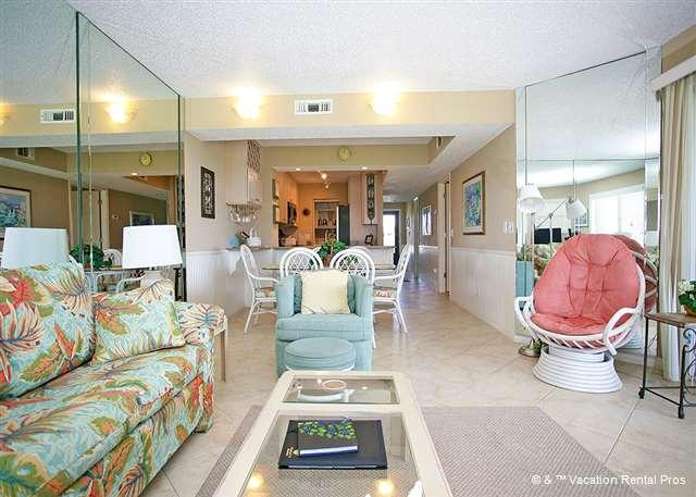 Relax in the spacious living room with access to the balcony - Colony Reef 2310, 3 bedrooms, heated pool, HDTV - Saint Augustine - rentals