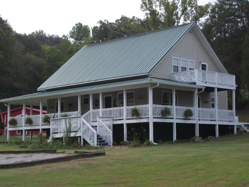 Country Time Escape-Enjoy the covered wrap around porch with swing and chairs - Country Time Escape Covered Porch-Hot Tub, Ponds - Parrottsville - rentals