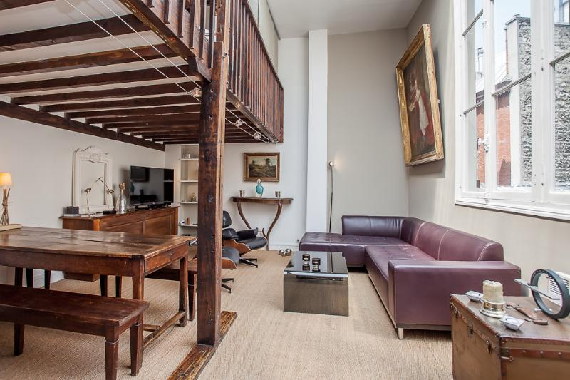 Living room as you enter front door - Le Gustav-Converted artist's loft Montmarte area - 9th Arrondissement Opéra - rentals
