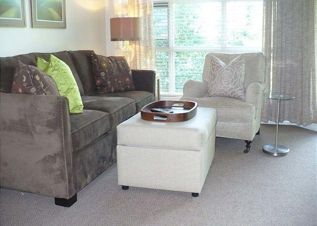 Living room with sofabed - Aspens, prime ski-in, ski-out, newly reno'd 1 bedroom - Whistler - rentals