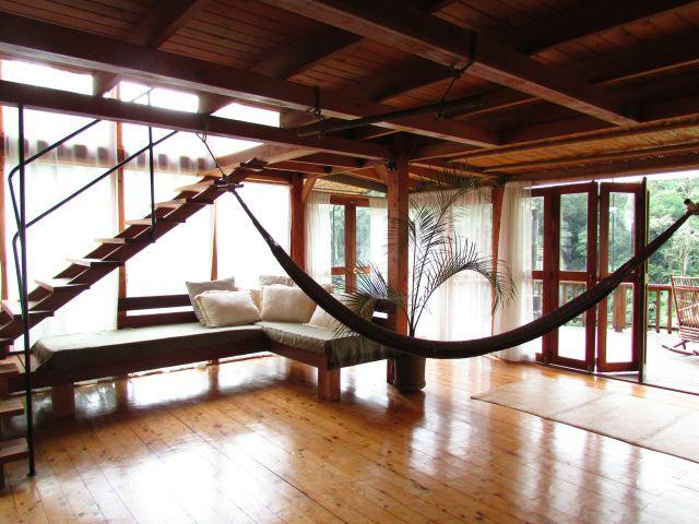 Open planned lounge with hammock and sofa area - KUBLA KHAN - Chirripó Mountain and River Retreat - Chirripo National Park - rentals