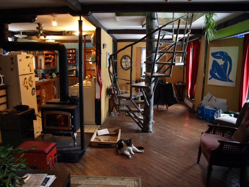 handmade staircase to the upstairs rooms and bathroom - Charming Cape Breton Artist Retreat - Inverness - rentals