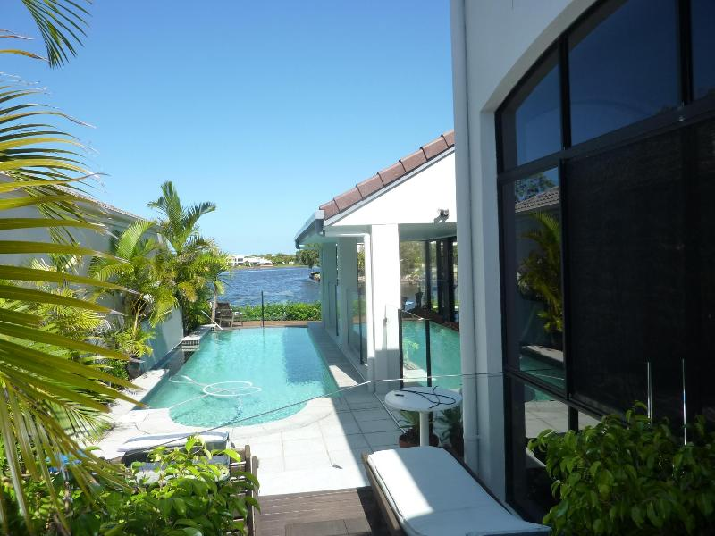 Pool, view from master bedroom - Great Waterfront Holiday Home -Nautilus Place Twin Waters - Sunshine Coast - rentals