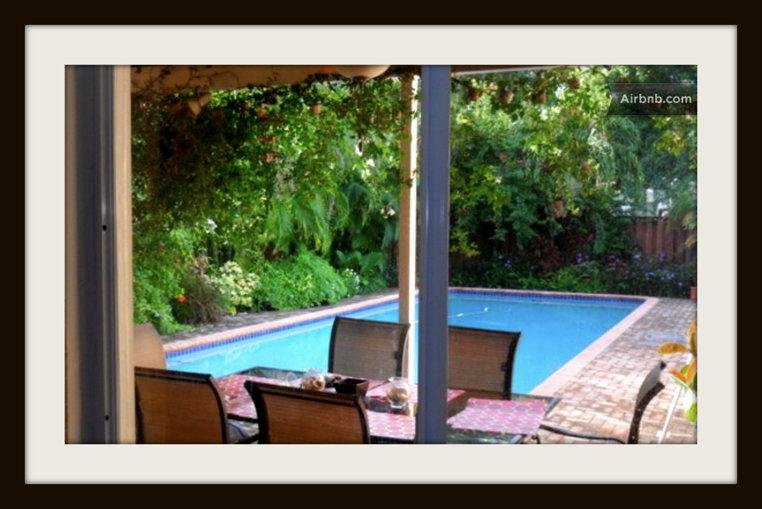 View through the kitchen window - Tropical Oasis with Private Pool Near  the Beach - Hollywood - rentals