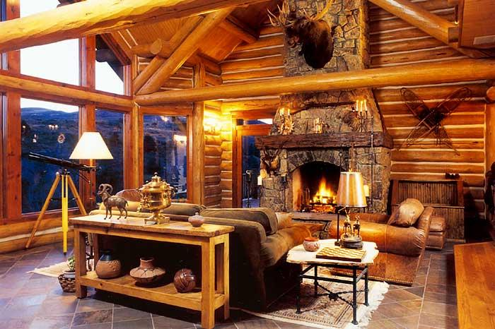 The Great Room is highlighted by a massive stone woodburning fireplace - Luxury Log Home Great Place for Summer or Anytime! - Wolcott - rentals