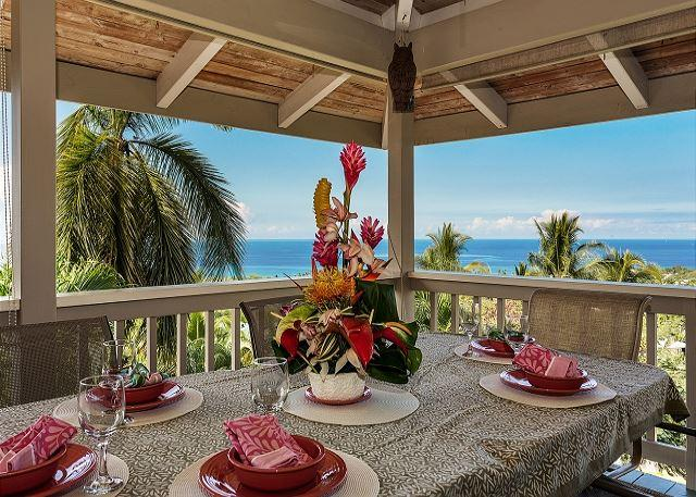 Upper Level Lanai Outdoor Dining with Ocean Views - #PHLeone - Leone House - Kailua-Kona - rentals