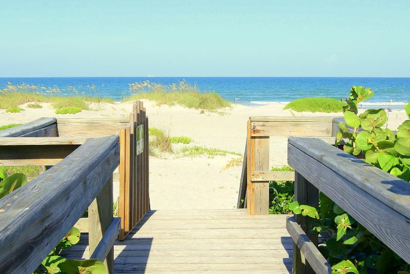 Beach gate in front of complex - Beachfront Condo - Best Price, Panoramic View - Cocoa Beach - rentals