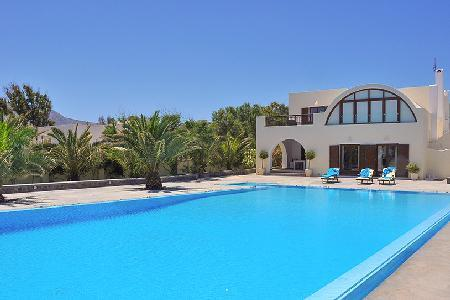 Beachfront Santorini Beach Villa set on pristine gardens with saltwater pool - Image 1 - Agia Paraskevi - rentals