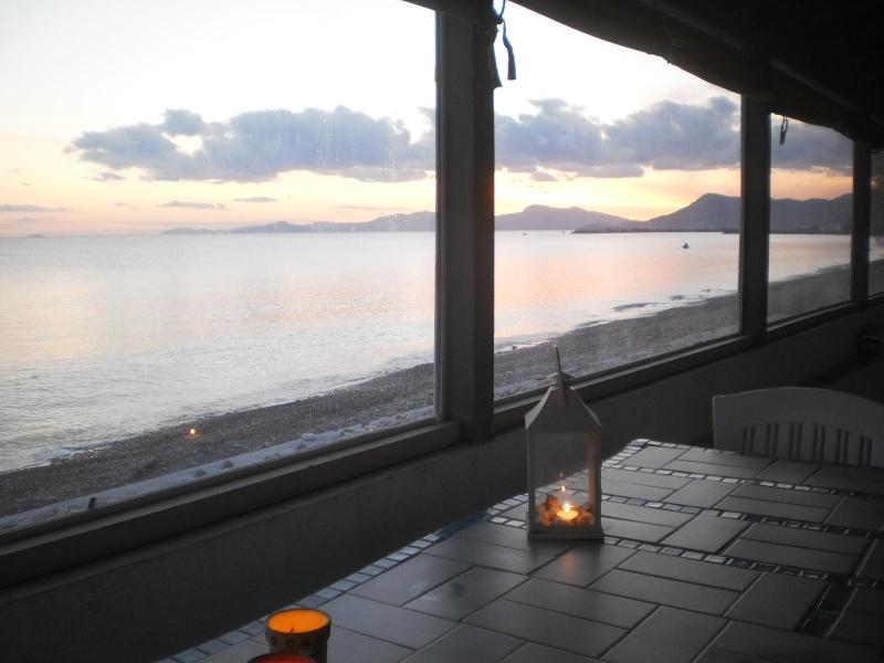 winter photos taken from the veranda of the house which closes with windows in winter  - BEACH HOUSE FOR MAX  4 PERSONS - SAMOS ISLAND GREECE - Marathokampos - rentals