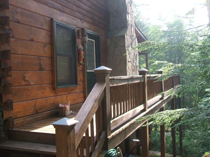 side deck - Log Cabin on fightingtown creek - Blue Ridge - rentals