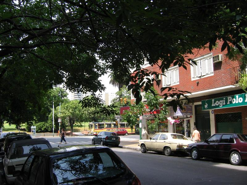 Street view outside the building, with park at T intersection - Palermo meets Recoleta - Buenos Aires - rentals