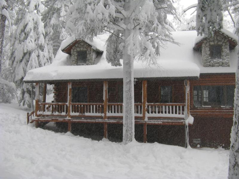 Our Cabin front yard in last winter's big storm - Luxury Secluded Lodge Deep in the Forest with WiFi - Pine Mountain Club - rentals