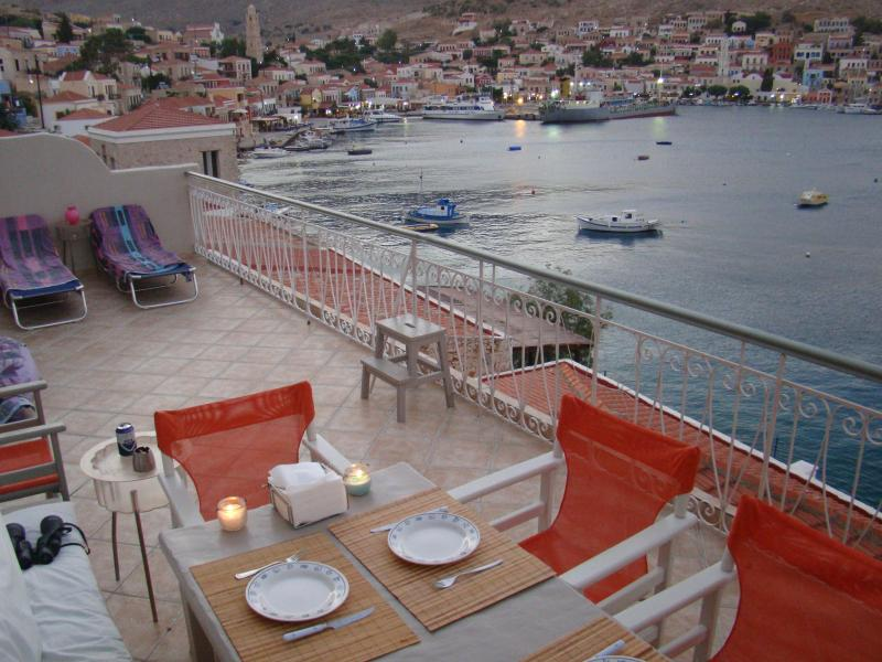 The balcony and the view to the village - Polyxeni's Villa at the sea - Halki - rentals