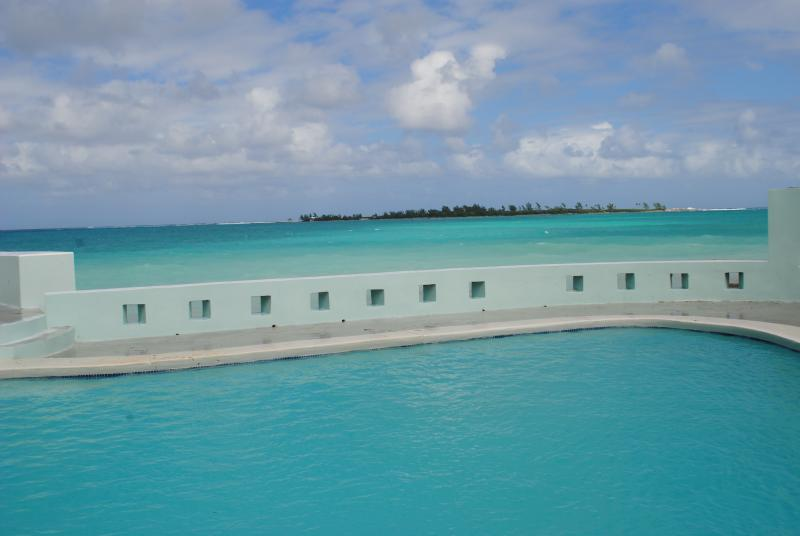 View of the ocean from the heated pool, endless turquoise bliss - Seaduction-Oceanfront 5 bedrooms, heated pool! - Nassau - rentals