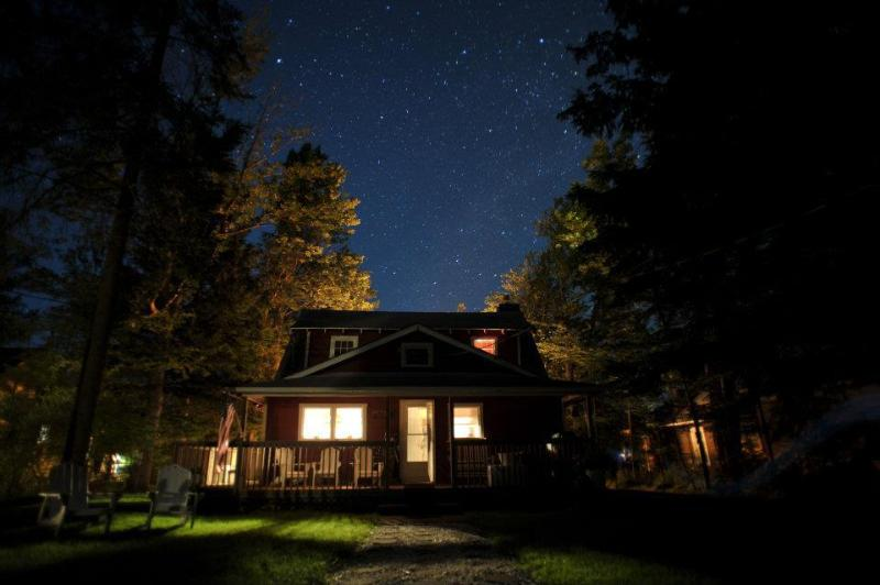 Back of Cottage At Night, Looking At The Stars - Tranquil Lake Cottage Retreat With Magnificent Sunsets ~ Home Away - Caroga Lake - rentals