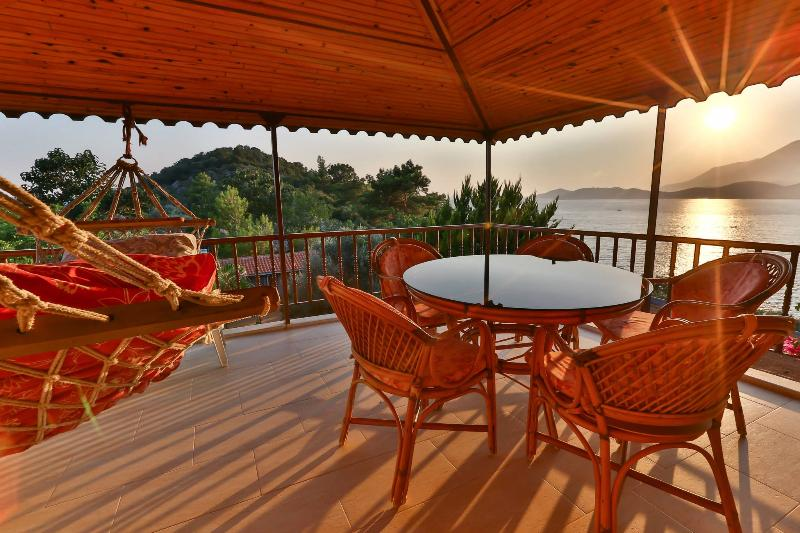 Sunset and Sea view from the balcony - Kas Apartment with sea view and swimming pool - Kas - rentals