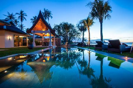 Elegant beachfront Villa Sila, maid and chef services and enchanting lotus pond - Image 1 - Mae Nam - rentals